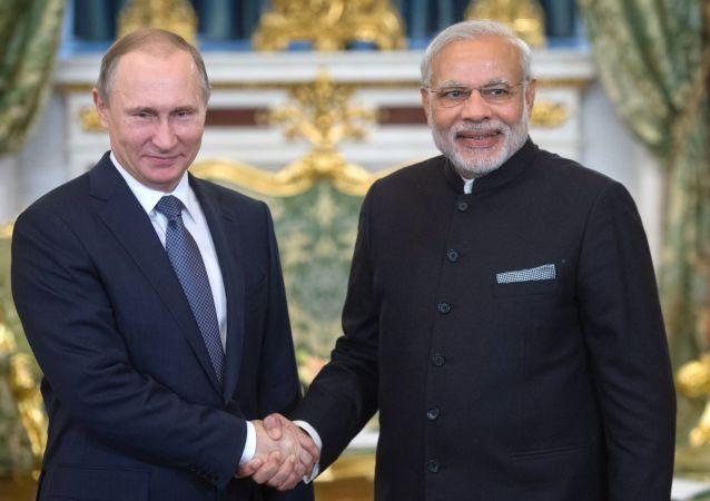 Ruský prezident Vladimir Putin a premiér Indie Nárendra Módí