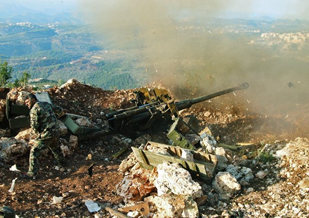 Syrský voják nedaleko Salmy