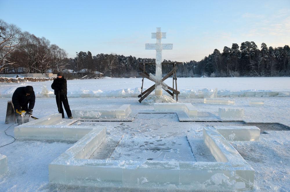 Tatarstán: příprava na koupání o Svátku Křtu Páně