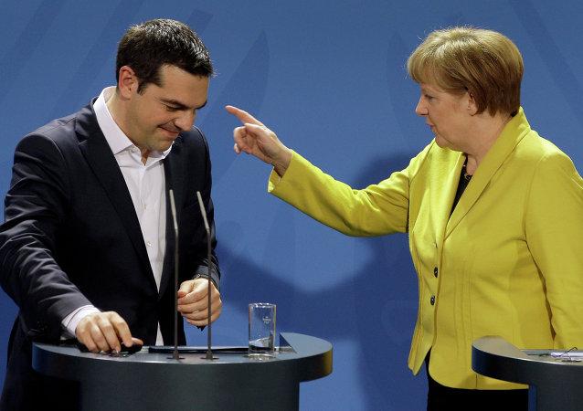 Německa kancléřka Angela Merkelová a řecký premiér Alexis Tsipras