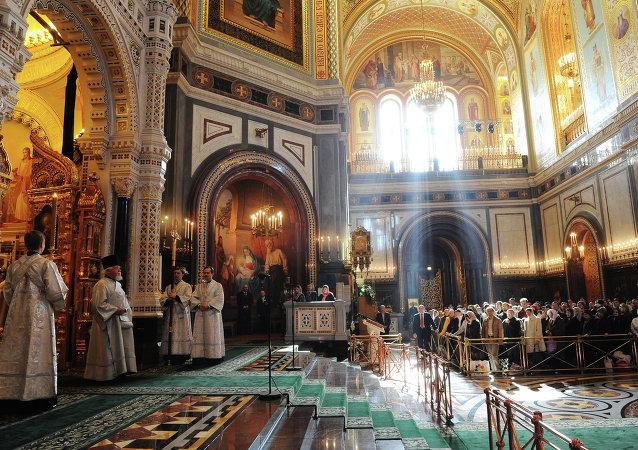 Velikonoce v Katedrále Krista Spasitele v Moskvě