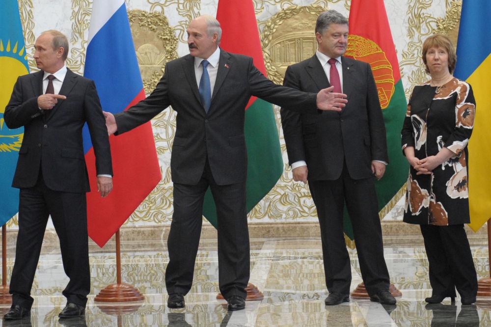 Ruský, běloruský a ukrajinský prezident a bývalá ministryně zahraničí EU Catherine Ashtonová