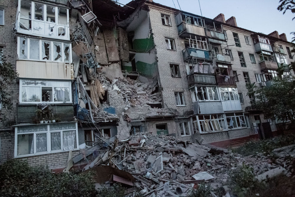 Následky ostřelování ve Slavjansku