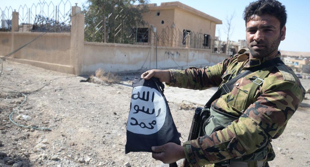 Voják syrské armády drží vlajku Daiš