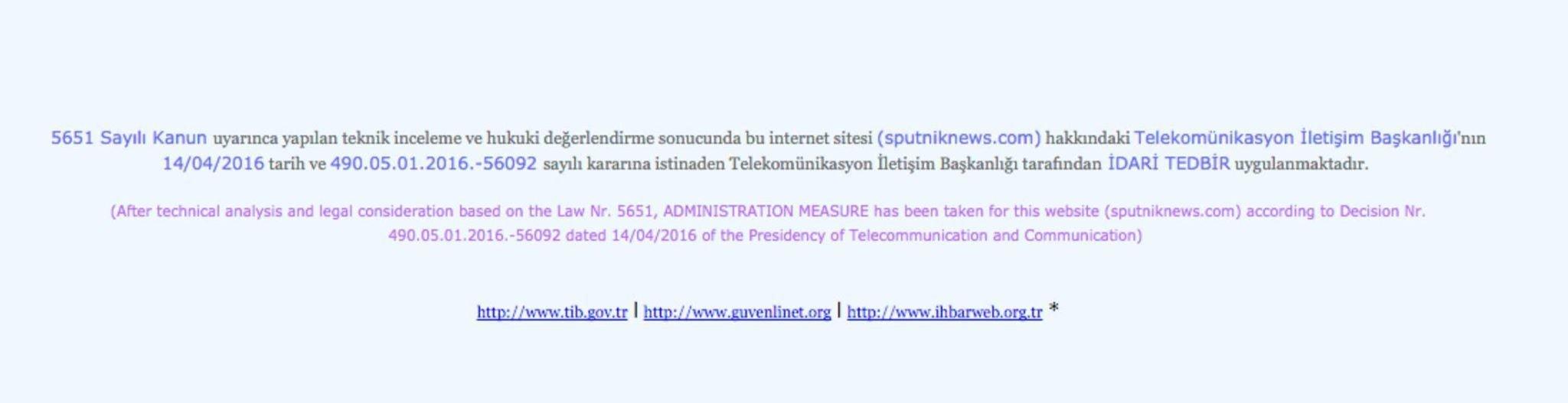 Webové stránky Sputniku jsou zablokovány v Turecku