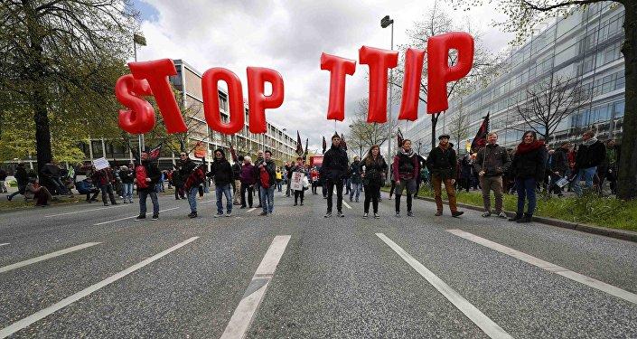 Akce proti TTIP v Hannoveru