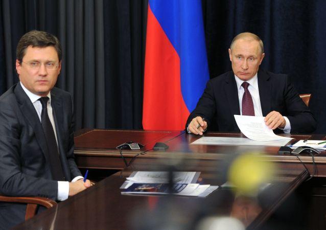 Vladimir Putin a Alexandr Novak