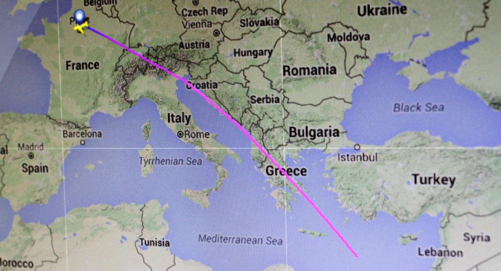 Trasa letu MS804 společnosti EgyptAir