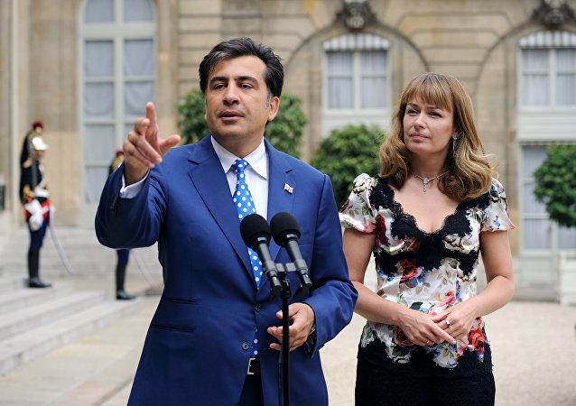 Michail Saakašvili a jeho žena Sandra Elisabeth Roelofs. Ilustrační foto