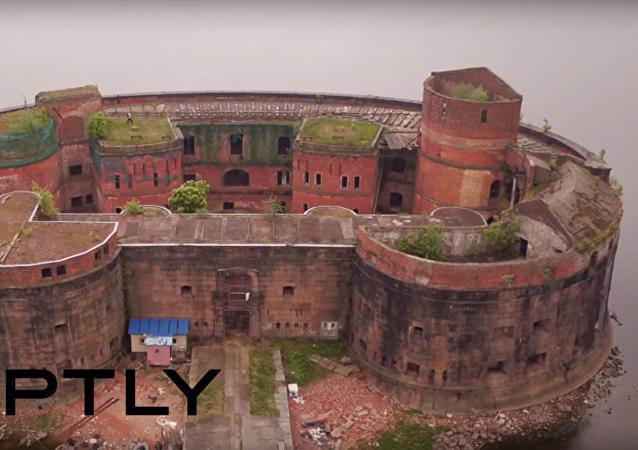 Video z ptačí perspektivy: pevnost Císař Alexandr I. v Petrohradě