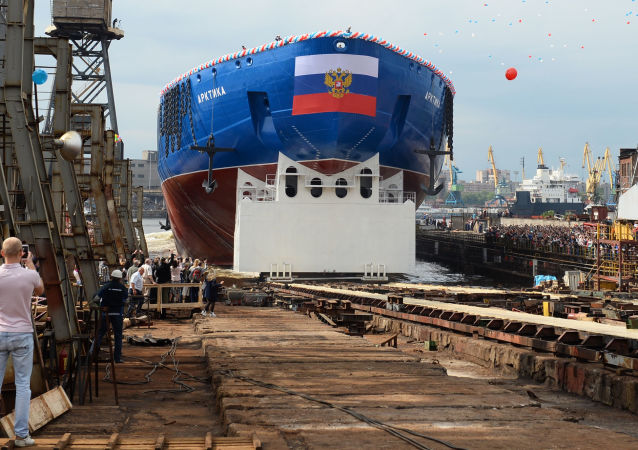 Ceremonie spuštění na vodu atomového ledoborce Arktika v Petrohradě