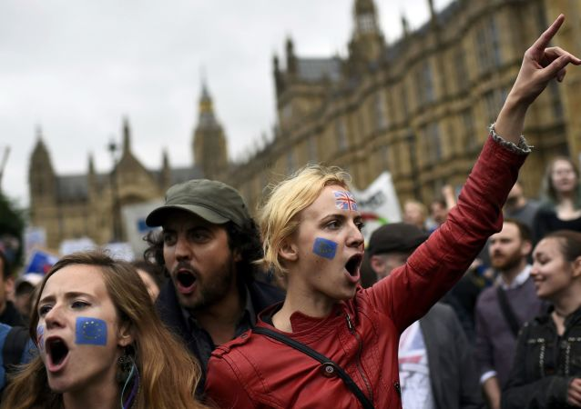 Protestní akce v Londýně po referendu Brexit