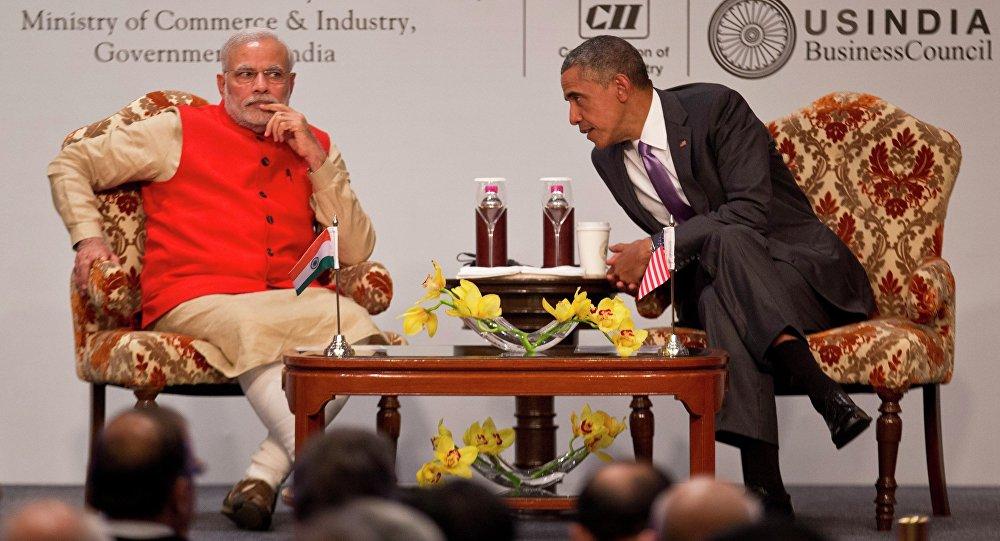 Americký prezident Barack Obama během setkání s indickým premiérem Narendrou Modim