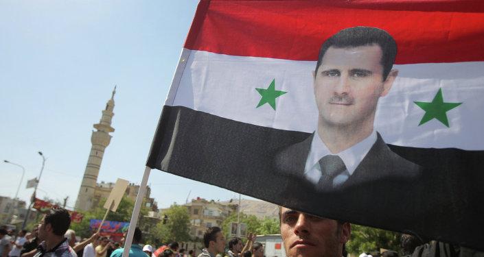 Mítink na podporu Bašára Asada v Damašku