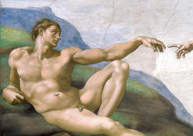 Creazione di Adamo od autora Michelangelo