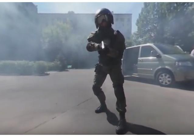 Cvičení jednotky rychlé reakce v Moskvě