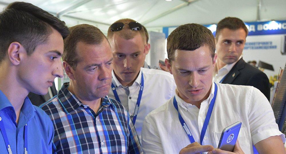 Dmitrij Medveděv během fóra Území smyslů