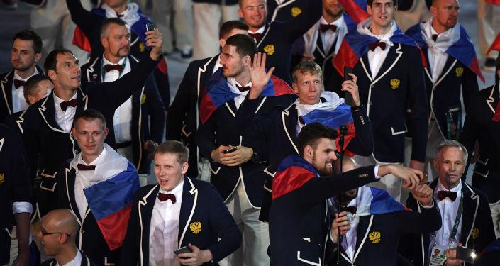 Ruská reprezentace na zahájení OH 2016 v Riu