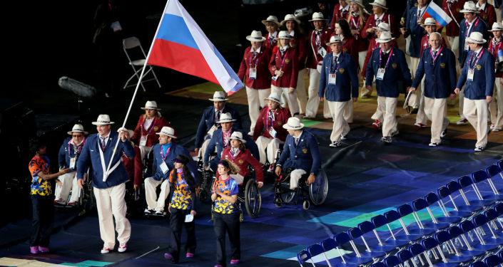 Ruská reprezentace na ceremonii zahájení paralympijských her v Londýně