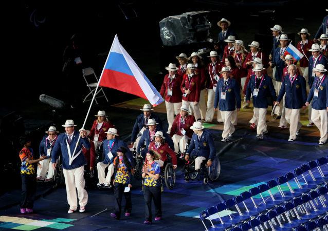 Ruská reprezentace na ceremonii zahájení paralympijských her v Londýně.