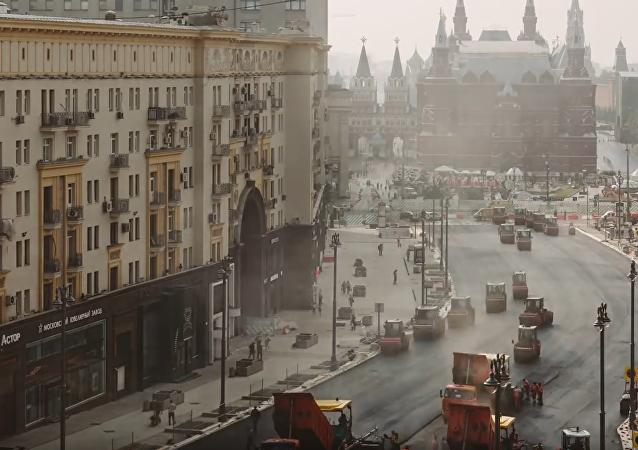 Rekonstrukce ruské hlavní silnice.