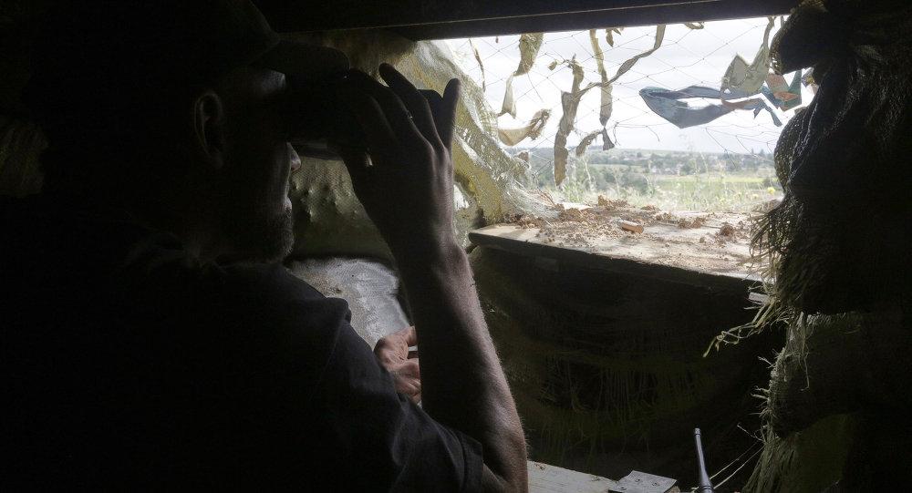 Ukrajinští vojáci v obci Širokino