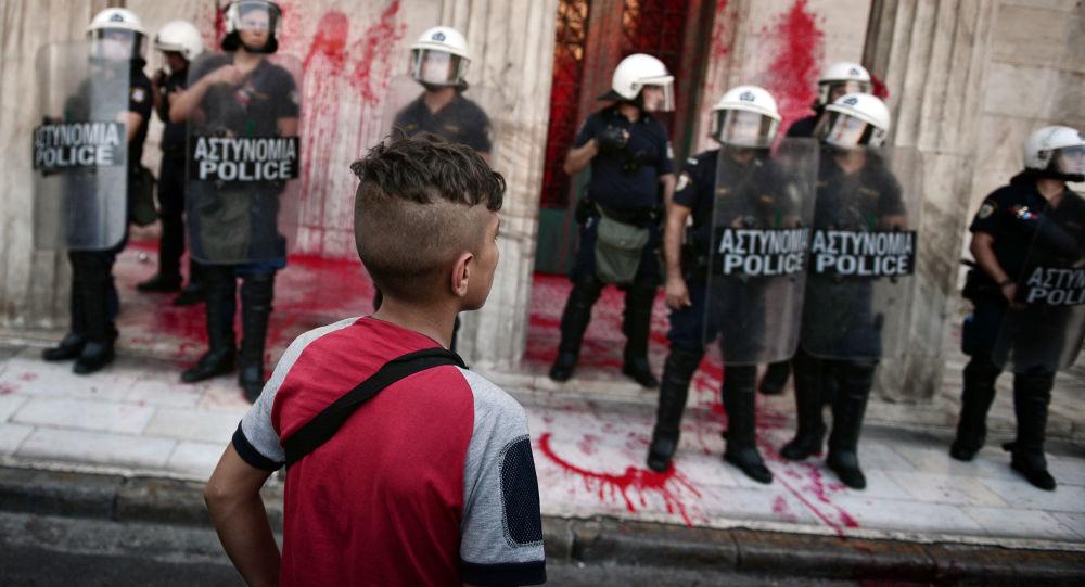 Demonstrace na podporu migrantů v Aténách