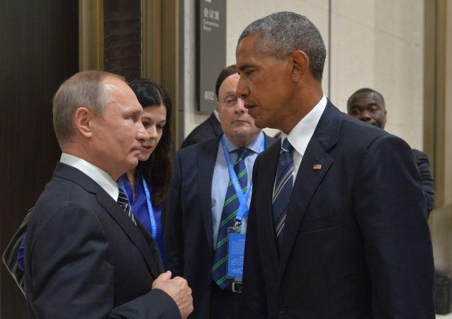 Prezident RF Vladimír Putin během setkání s americkým kolegou Barackem Obamou