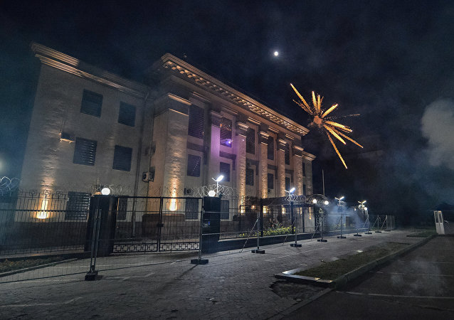 Útok radikálů na ruské velvyslanectví v Kyjevě