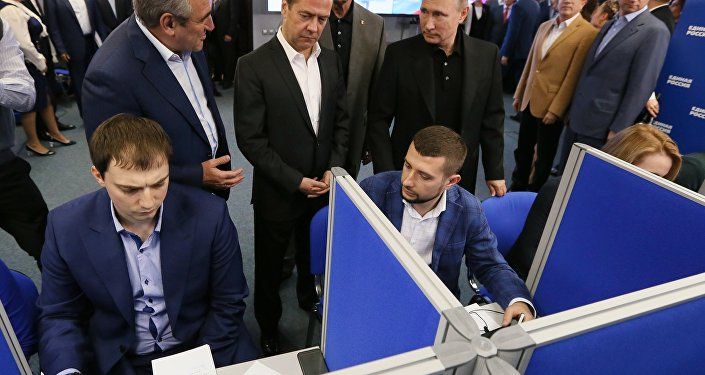 Prezident Putin a premiér Medveděv ve štábu strany Jednotné Rusko