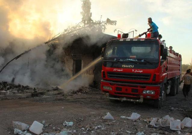 Místo útoku na humanitární konvoj v Aleppu