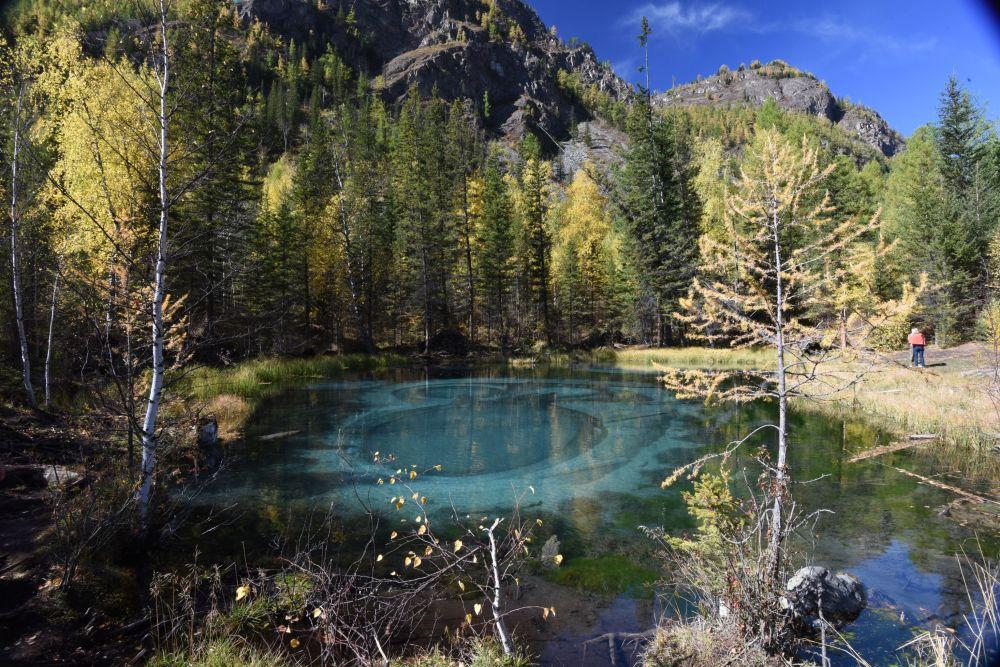 Gejzírové jezero v Ulaganském okrese