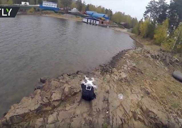 Rybaření s pomocí dronu na Krasnojarské nádrži