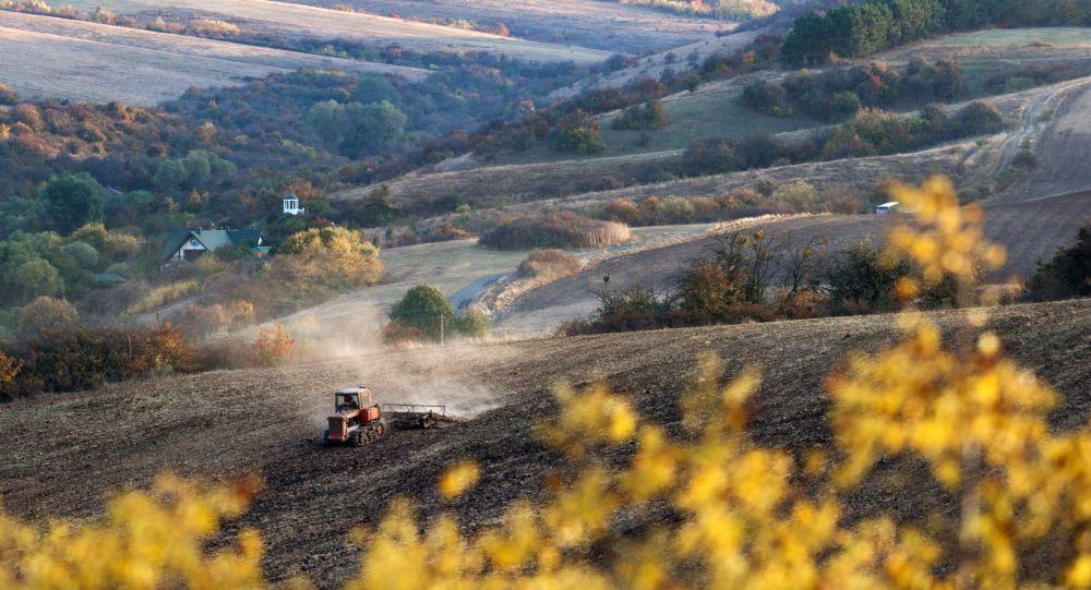 Traktor v poli poblíž obce Klynivka v Krymu