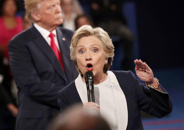 Kandidátka na post prezidenta USA za Demokratickou stranu Hillary Clintonová během předvolební debaty s Donaldem Trumpem