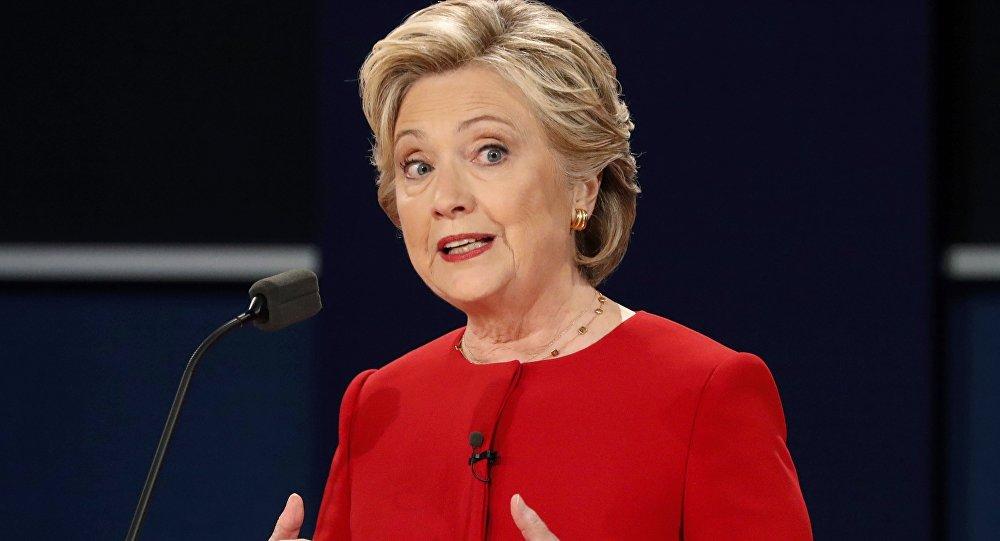 Hillary Clintonová během první debaty s Donaldem Trumpem