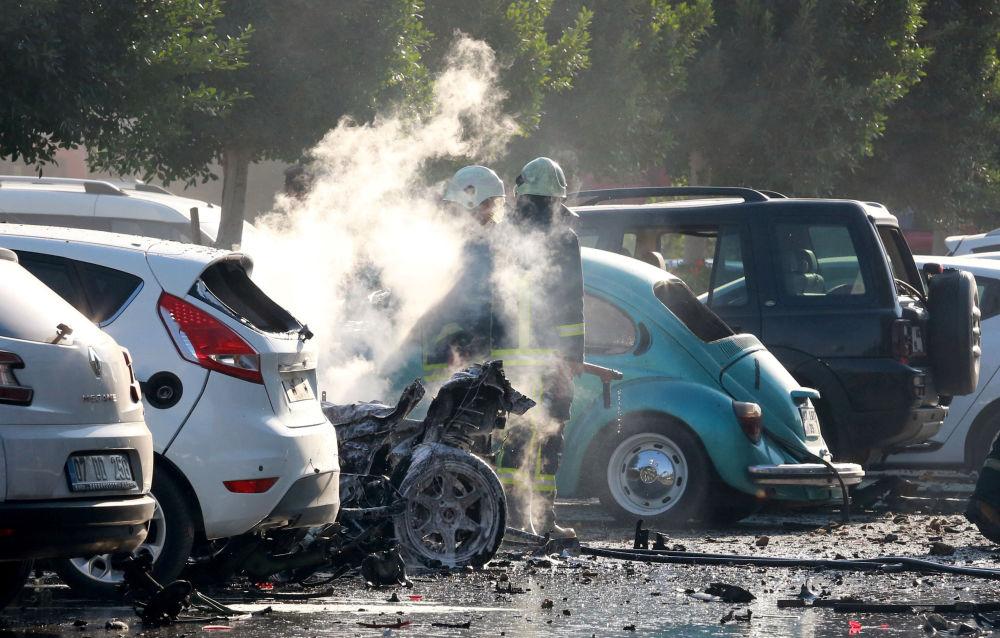 Hasiči na místě exploze v Antálii