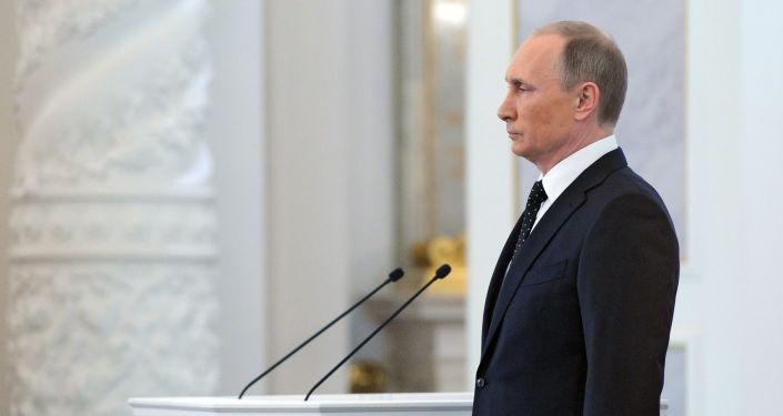 Ruský prezident Vladimir Putin během poselství Federálnímu shromáždění
