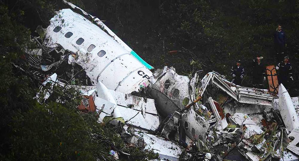 Místo havárie brazilského letadla v Kolumbii