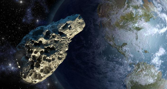 Asteroid na pozadí Země