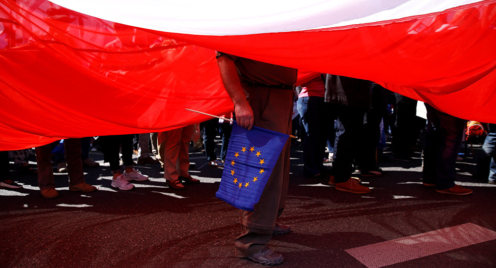 Vlajky Polska a EU