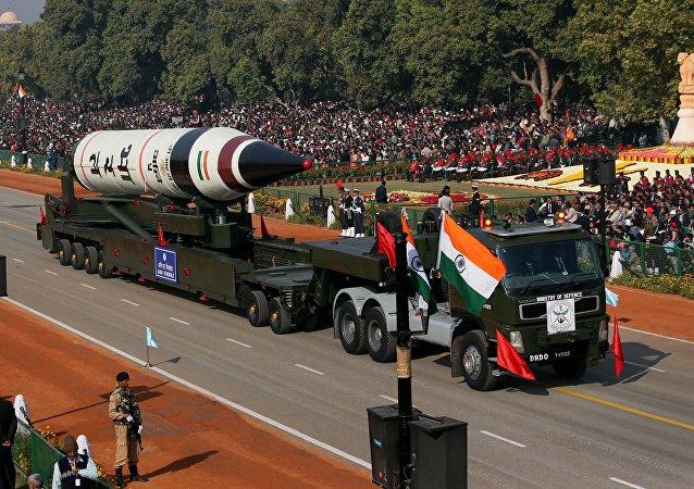 Mezikontinentální balistická raketa Agni-5. Ilustrační foto
