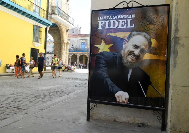 Plakát s zobrazením Fidela Castra