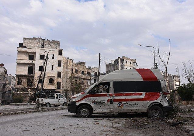 Zničené čtvrtě Aleppa