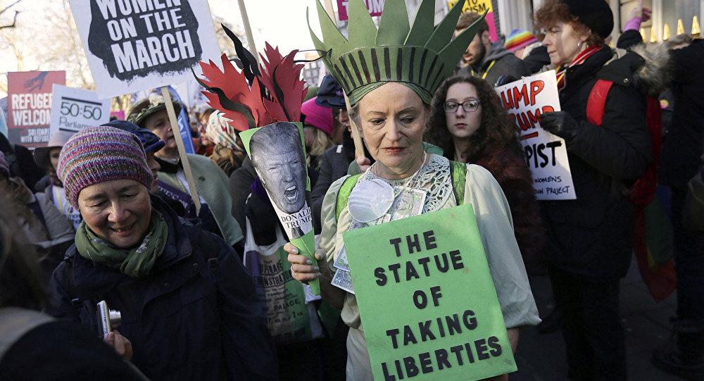 Protestní akce po inauguraci Trumpa
