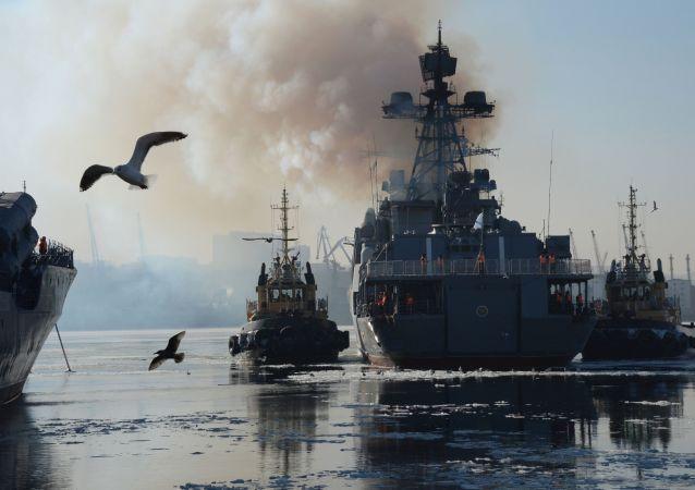 Slavnostní přivítání lodí Tichomořské flotily