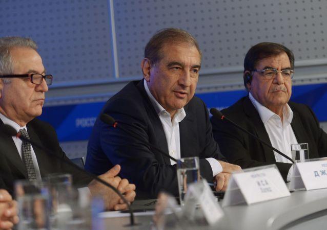 Tisková konference syrské opozice v Moskvě