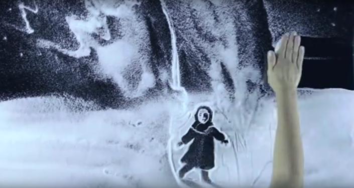 Krymská umělkyně vytvořila pomocí sněhu film k výročí prolomení blokády Leningradu