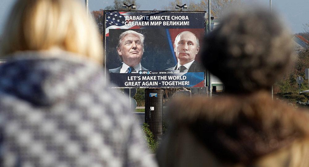 Plakat mit Trump und Putin, Montenegro