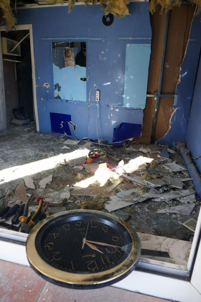 Kadeřnictví poškozené ostřelováním ukrajinskými ozbrojenými silami